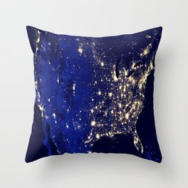 America Night Lights Throw Pillow