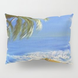 Rocky Weather on the Beach  Oil on Canvas Pillow Sham