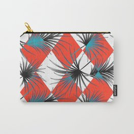 Harlequin rhombuses with palm leaves Carry-All Pouch