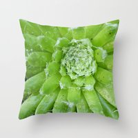 succulent Throw Pillows featuring Succulent by constarlation