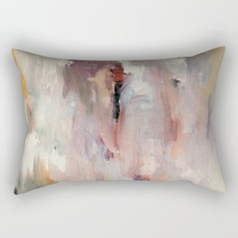 Gentle Beauty [2] - an elegant acrylic piece in deep purple, red, gold, and white Rectangular Pillow