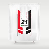 senna Shower Curtains featuring Formula E 2015/2016 - #21 Senna by MS80 Design