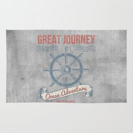 Maritime Design- Great Journey Ocean Adventure on gray abstract background Rug