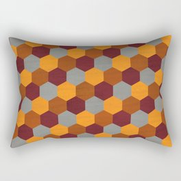 Browns Hues Geometric Marquetry Pattern Rectangular Pillow