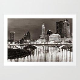 Scioto River Sepia Skyline View Of Columbus Ohio Art Print