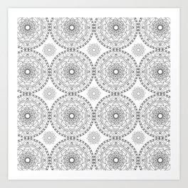 grey and white mandala Art Print