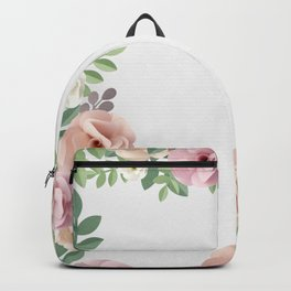 Pink Floral Art Border Painting Backpack
