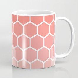 Coral pink gradient honey comb pattern Coffee Mug