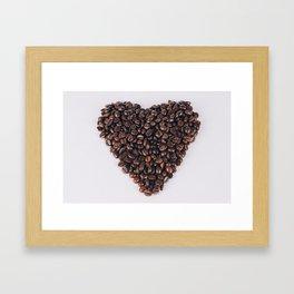 Heart of coffee beans Framed Art Print
