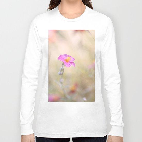 Lovely pink flower against backlit Long Sleeve T-shirt