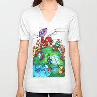 animal crossing V-neck T-shirts featuring Animal crossing invasioni  by Cristina Lunat Sugamele