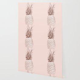 Rose Gold Pineapple on Blush Pink Wallpaper