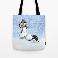 snowman Tote Bags featuring Snowman by Anna Shell