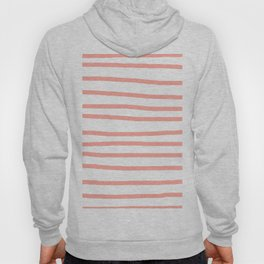 Simply Drawn Stripes Salmon Pink on White Hoodie