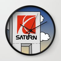 saturn Wall Clocks featuring Saturn by Josh LaFayette