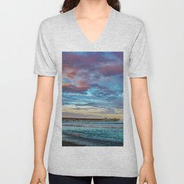 Rainbow at the End of the Pier Unisex V-Neck