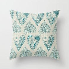 Blue and beige tangled heart pattern Throw Pillow