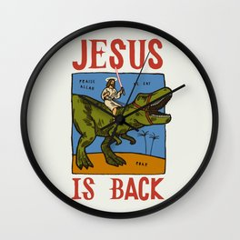 Jesus is Back riding T-Rex Wall Clock