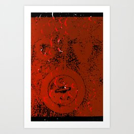 Orange Valve on Black Art Print