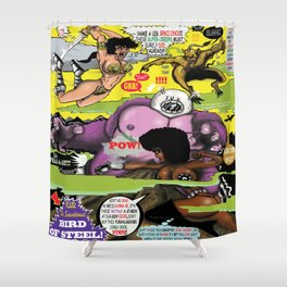 Space Chick & Nympho: Vampire Warrior Party Girl Comix #2 - Comic Book Cover Shower Curtain