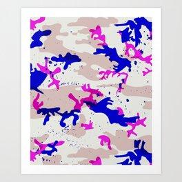 FUCHSIA & COBALT CAMO Art Print