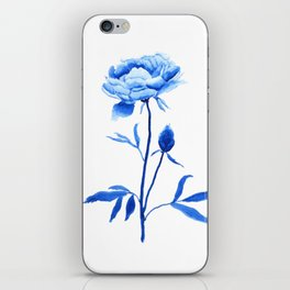 one blue peony painting iPhone Skin