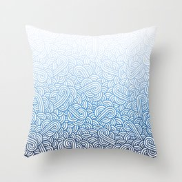 Gradient blue and white swirls doodles Throw Pillow