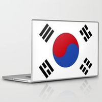 korean Laptop & iPad Skins featuring South Korean Flag  by Laura Ruth