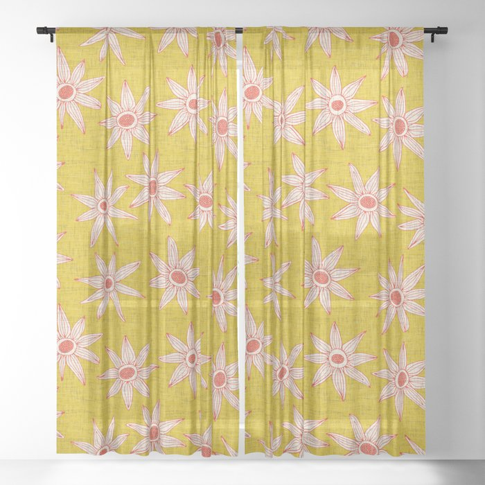 sema yellow fire orange Sheer Curtain