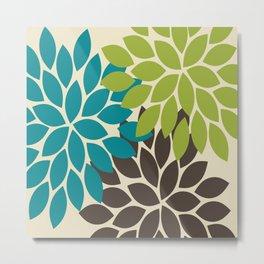 Bold Colorful Biege Brown Teal Green Dahlia Flower Burst Petals Metal Print