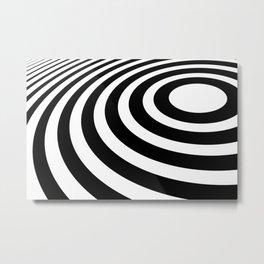 Black and White Minimal 3D Circle Metal Print