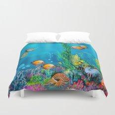 Undersea with Nautilus Duvet Cover