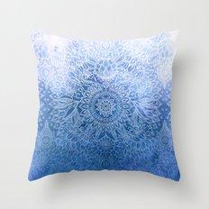 Enchanted Indigo - watercolor + doodle Throw Pillow