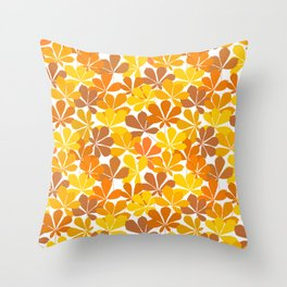 Chestnut tree autumn leaves Throw Pillow