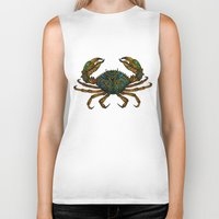 crab Biker Tanks featuring CRAB by Claire Cousins