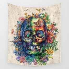 floral tropical skull Wall Tapestry