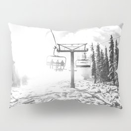 Powder on the Hill // Black and White Skilift Shot on a Deep Snowday Pillow Sham