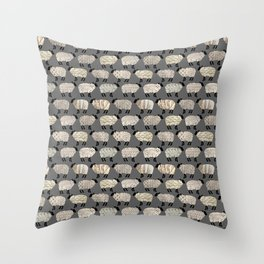 Wee Wooly Sheep in Aran Sweaters  Throw Pillow