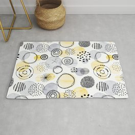 Watercolour Circles   Grey and Yellow Palette Rug