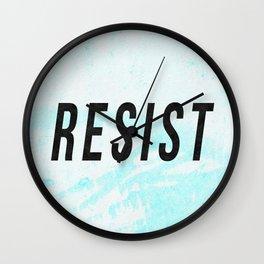 RESIST 1.0 - Black on Teal #resistance Wall Clock