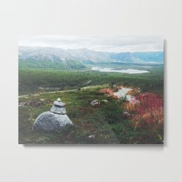 Cairn in mountains Metal Print