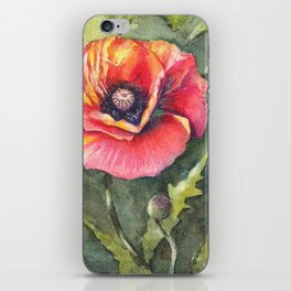 Poppy Single Watercolor iPhone Skin