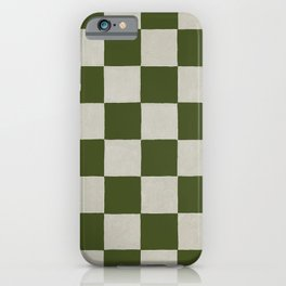 checkerboard hand-painted-olive iPhone Case