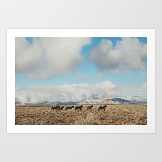 Running Reservation Horses Art Print
