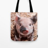 piglet Tote Bags featuring Sweet piglet by MehrFarbeimLeben