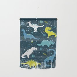 Space Dinosaurs in Bright Green and Blue Wall Hanging