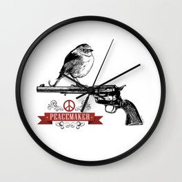 Bird perched on top of the barrel of a Colt Peacemaker peace-sign Wall Clock