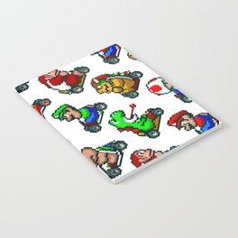 Super Mario Kart characters pattern | white Notebook