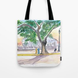 Key West Conch Dream House-Tree and Cafe Sunrise Tote Bag