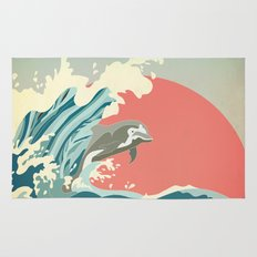 dolphin happiness Rug